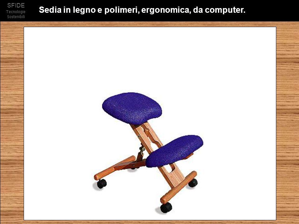 Sedia in legno e polimeri, ergonomica, da computer.