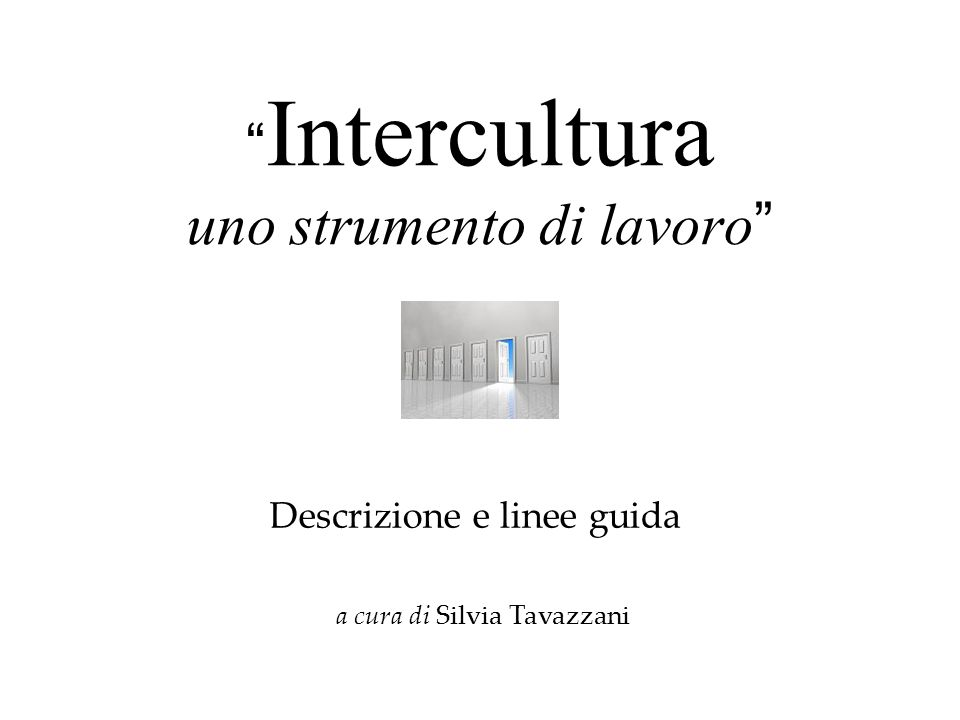 Intercultura uno strumento di lavoro