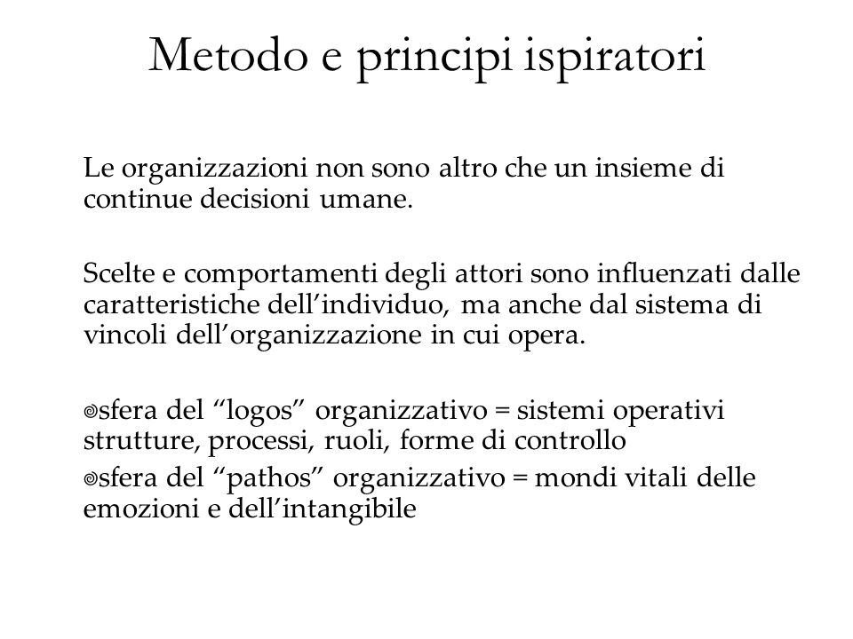 Metodo e principi ispiratori