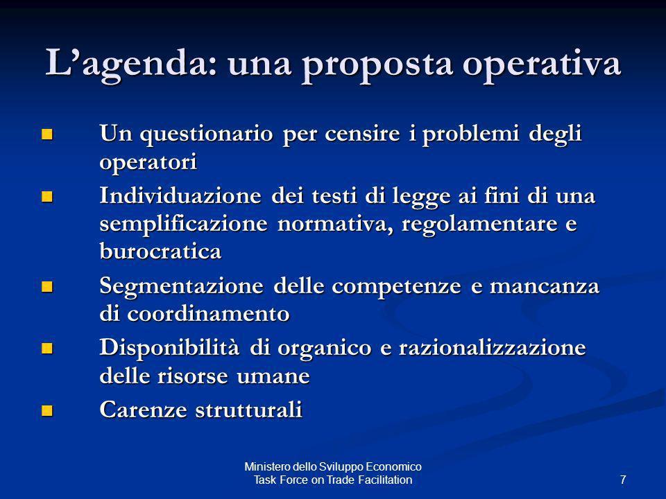 L'agenda: una proposta operativa