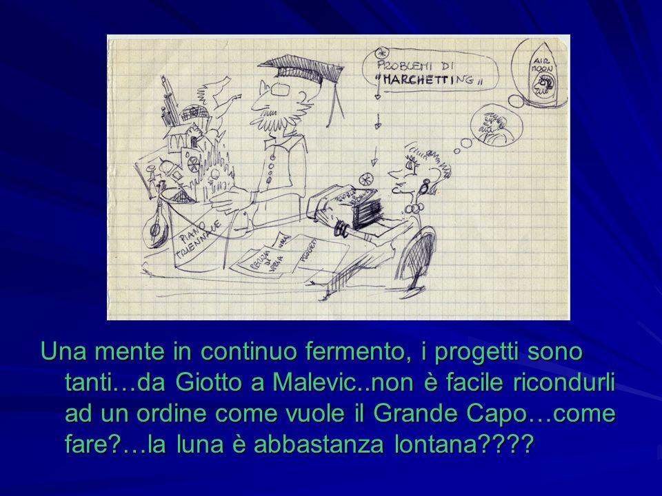 Una mente in continuo fermento, i progetti sono tanti…da Giotto a Malevic..non è facile ricondurli ad un ordine come vuole il Grande Capo…come fare …la luna è abbastanza lontana