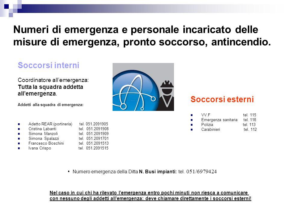 Numeri di emergenza e personale incaricato delle misure di emergenza, pronto soccorso, antincendio.