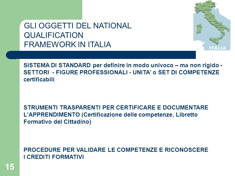 GLI OGGETTI DEL NATIONAL QUALIFICATION FRAMEWORK IN ITALIA