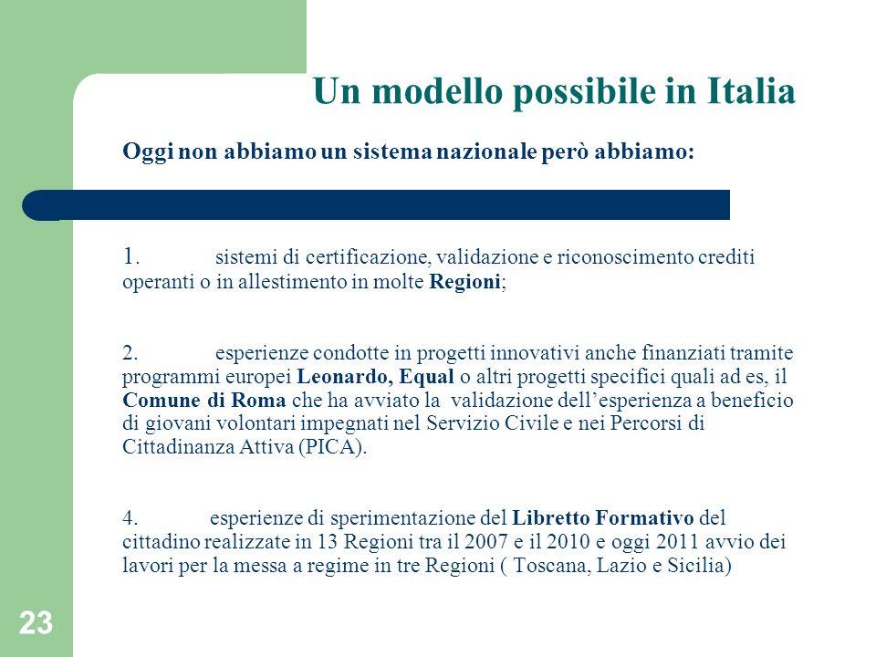 Un modello possibile in Italia Oggi non abbiamo un sistema nazionale però abbiamo: 1. sistemi di certificazione, validazione e riconoscimento crediti operanti o in allestimento in molte Regioni; 2. esperienze condotte in progetti innovativi anche finanziati tramite programmi europei Leonardo, Equal o altri progetti specifici quali ad es, il Comune di Roma che ha avviato la validazione dell'esperienza a beneficio di giovani volontari impegnati nel Servizio Civile e nei Percorsi di Cittadinanza Attiva (PICA).
