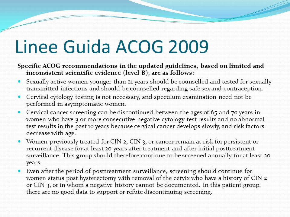 Linee Guida ACOG 2009