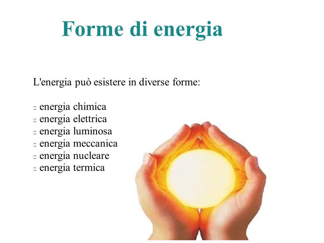 Forme di energia L energia può esistere in diverse forme: