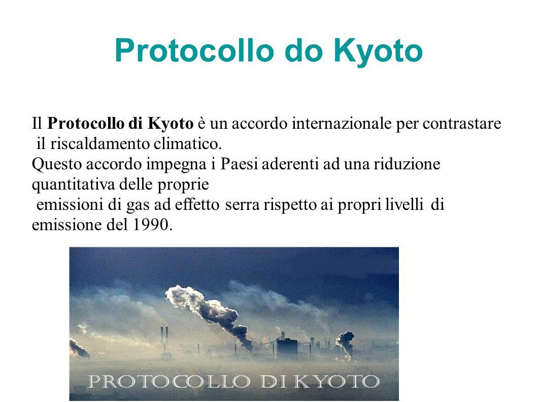 Protocollo do Kyoto Il Protocollo di Kyoto è un accordo internazionale per contrastare. il riscaldamento climatico.