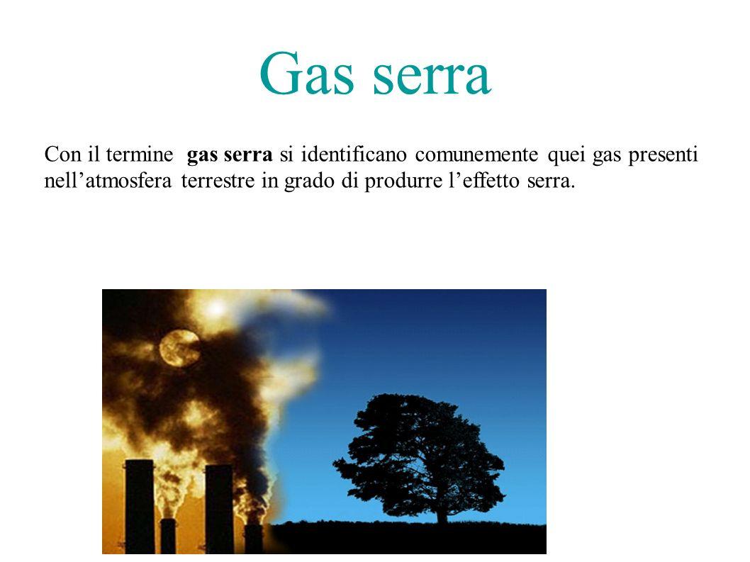 Gas serra Con il termine gas serra si identificano comunemente quei gas presenti.