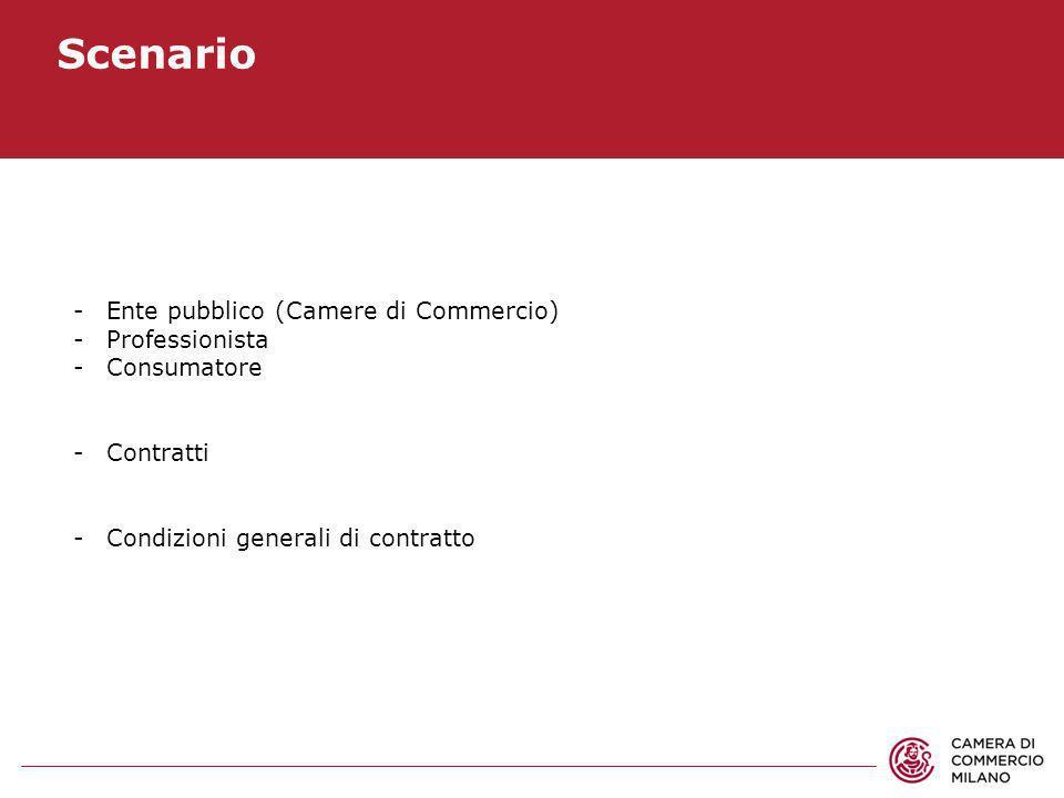 Scenario Ente pubblico (Camere di Commercio) Professionista
