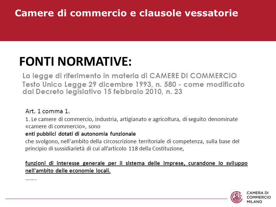 Fonti normative: Camere di commercio e clausole vessatorie