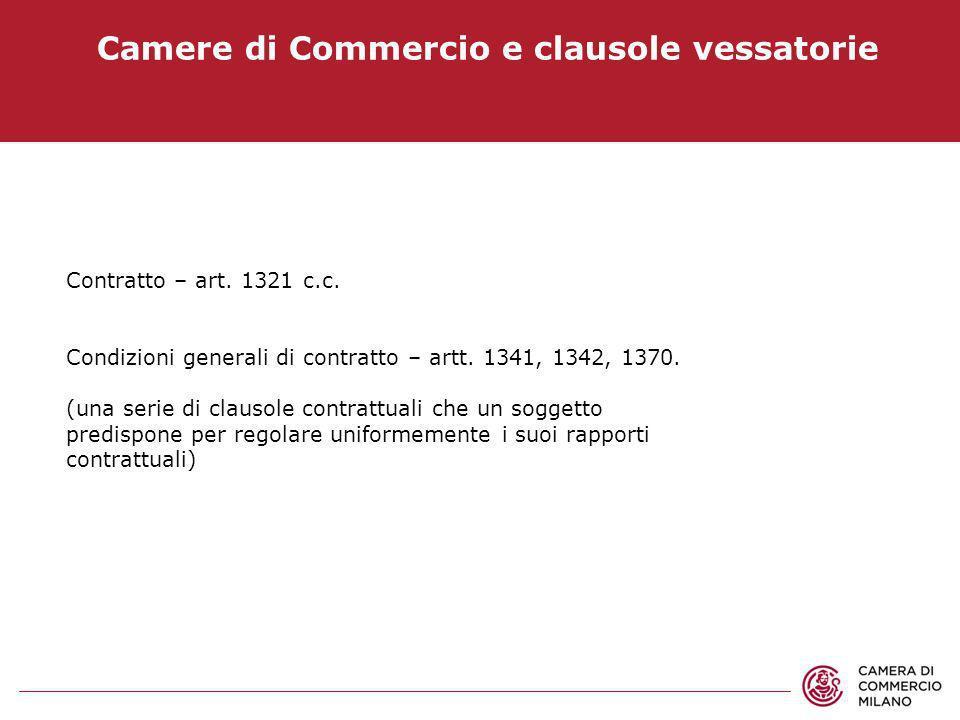 Camere di Commercio e clausole vessatorie