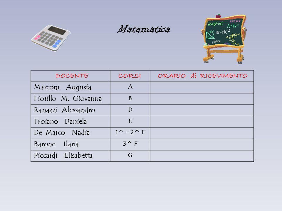 Matematica DOCENTE CORSI ORARIO di RICEVIMENTO Marconi Augusta