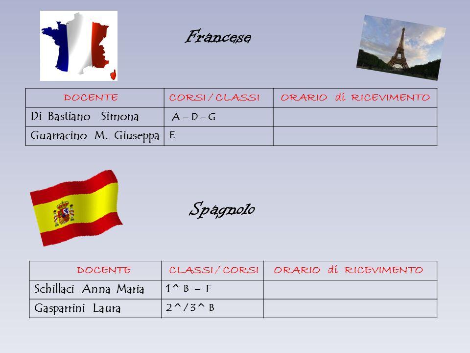 Francese Spagnolo DOCENTE CORSI / CLASSI ORARIO di RICEVIMENTO