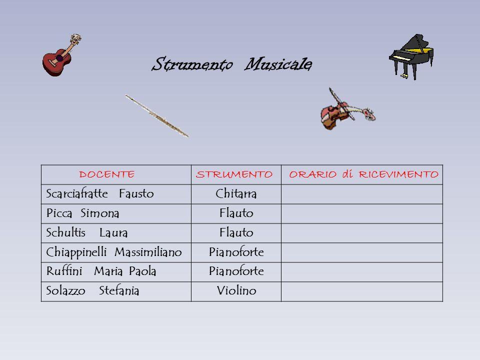 Strumento Musicale DOCENTE STRUMENTO ORARIO di RICEVIMENTO
