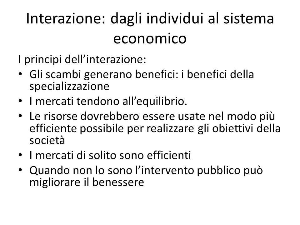 Interazione: dagli individui al sistema economico