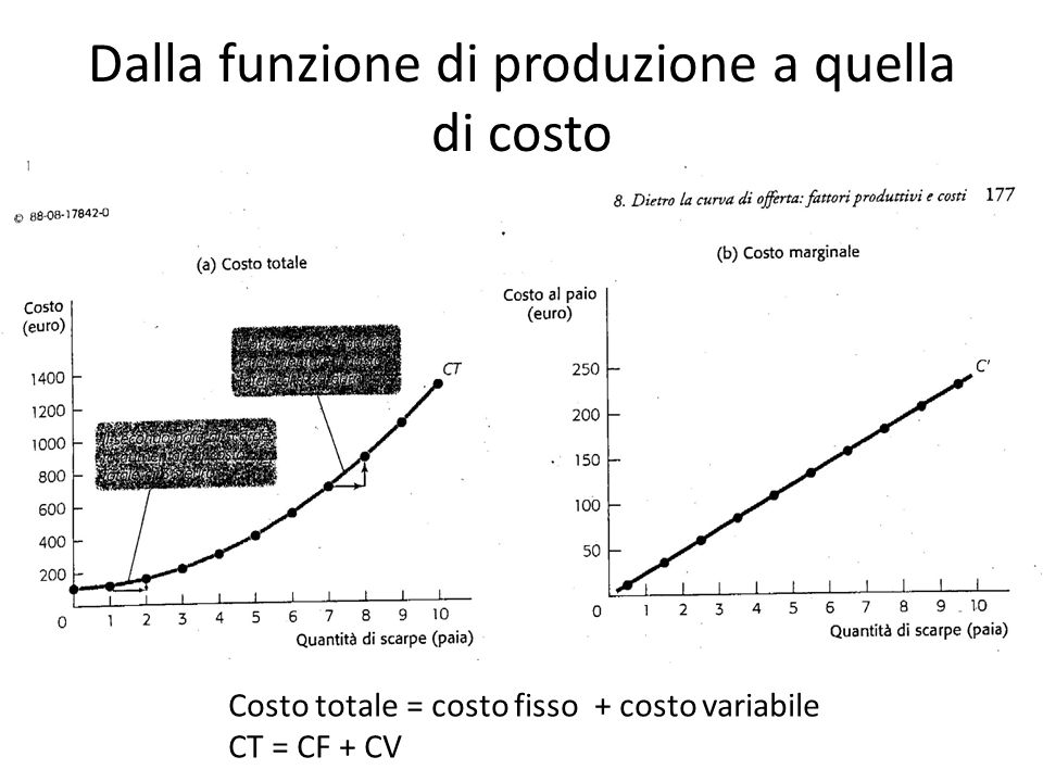 Dalla funzione di produzione a quella di costo
