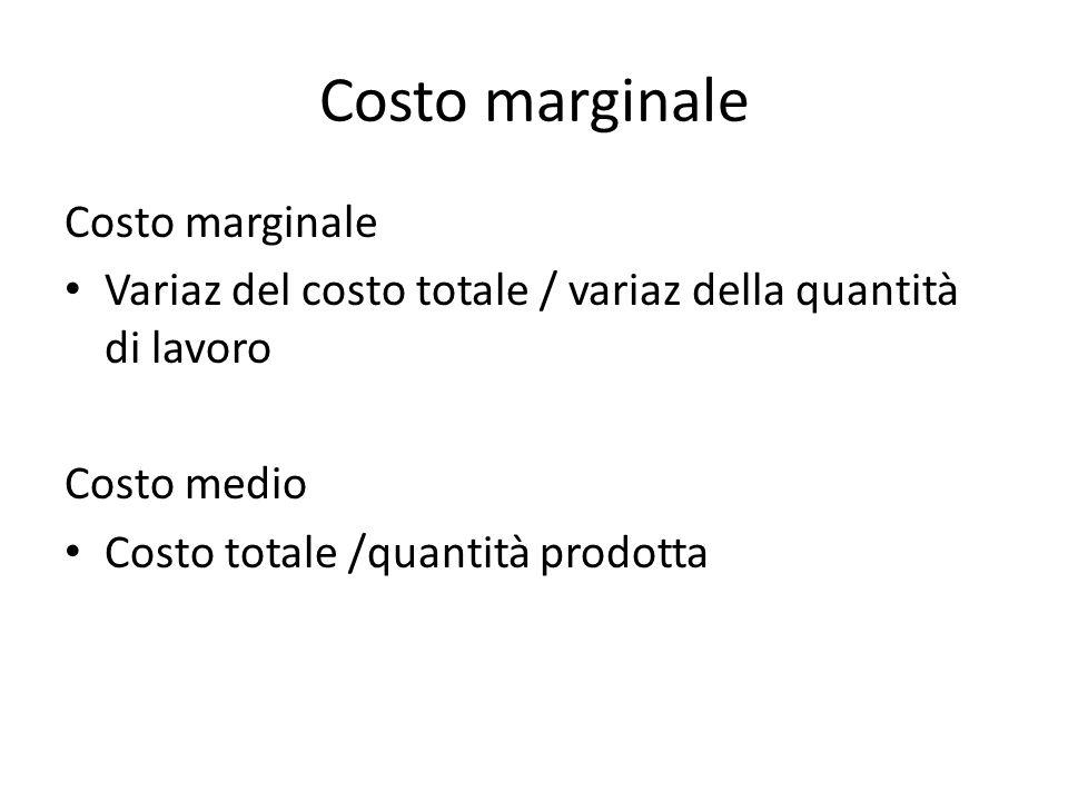 Costo marginale Costo marginale