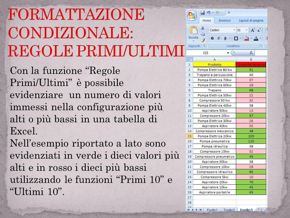 FORMATTAZIONE CONDIZIONALE: REGOLE PRIMI/ULTIMI