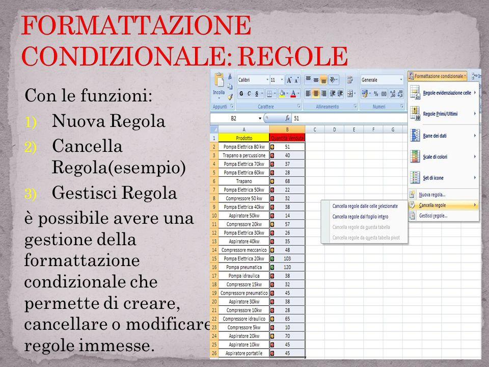 FORMATTAZIONE CONDIZIONALE: REGOLE