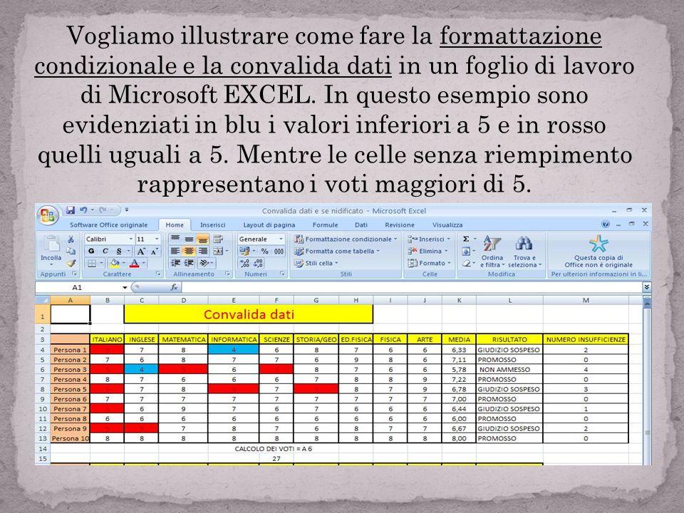 Vogliamo illustrare come fare la formattazione condizionale e la convalida dati in un foglio di lavoro di Microsoft EXCEL.