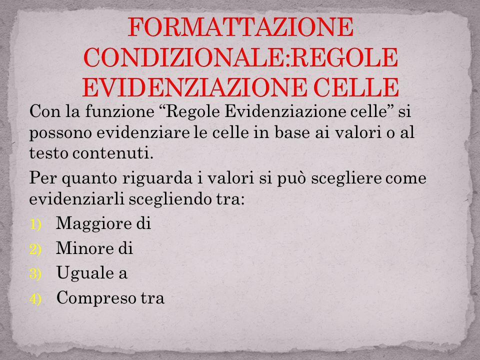 FORMATTAZIONE CONDIZIONALE:REGOLE EVIDENZIAZIONE CELLE