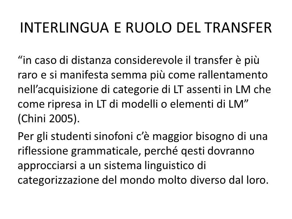 INTERLINGUA E RUOLO DEL TRANSFER