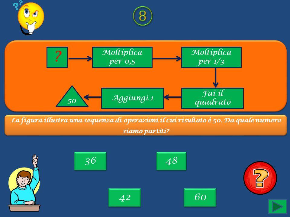 ⑧ 36 48 42 60 Moltiplica per 0,5 Moltiplica per 1/3 50 Aggiungi 1