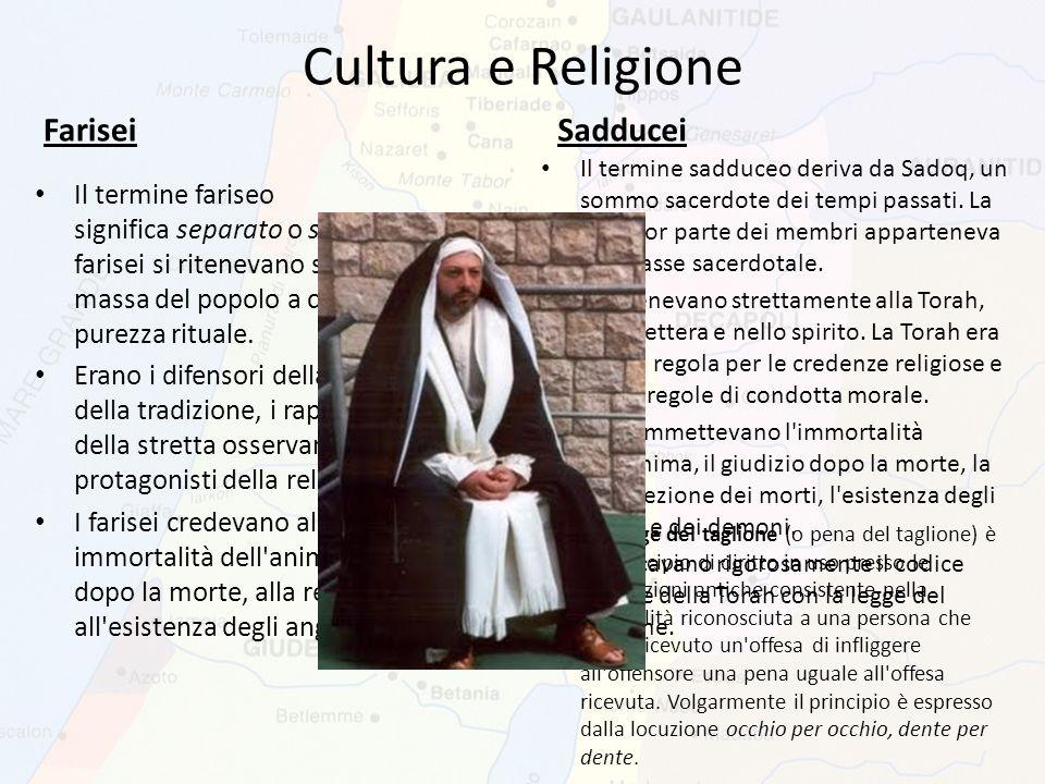 Cultura e Religione Farisei Sadducei