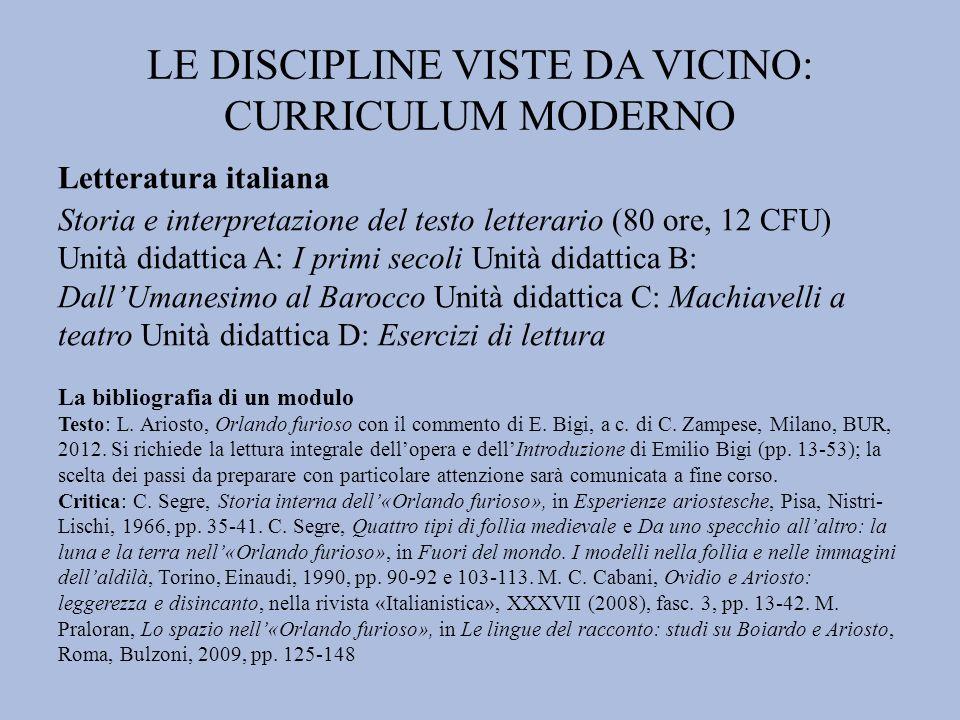 LE DISCIPLINE VISTE DA VICINO: CURRICULUM MODERNO