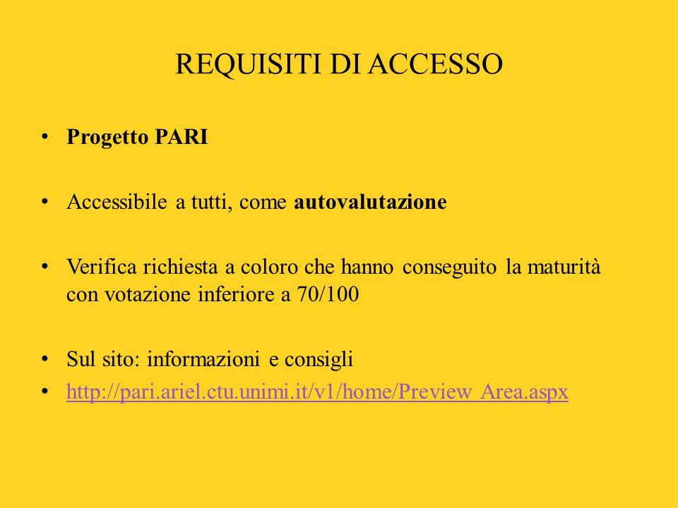 REQUISITI DI ACCESSO Progetto PARI