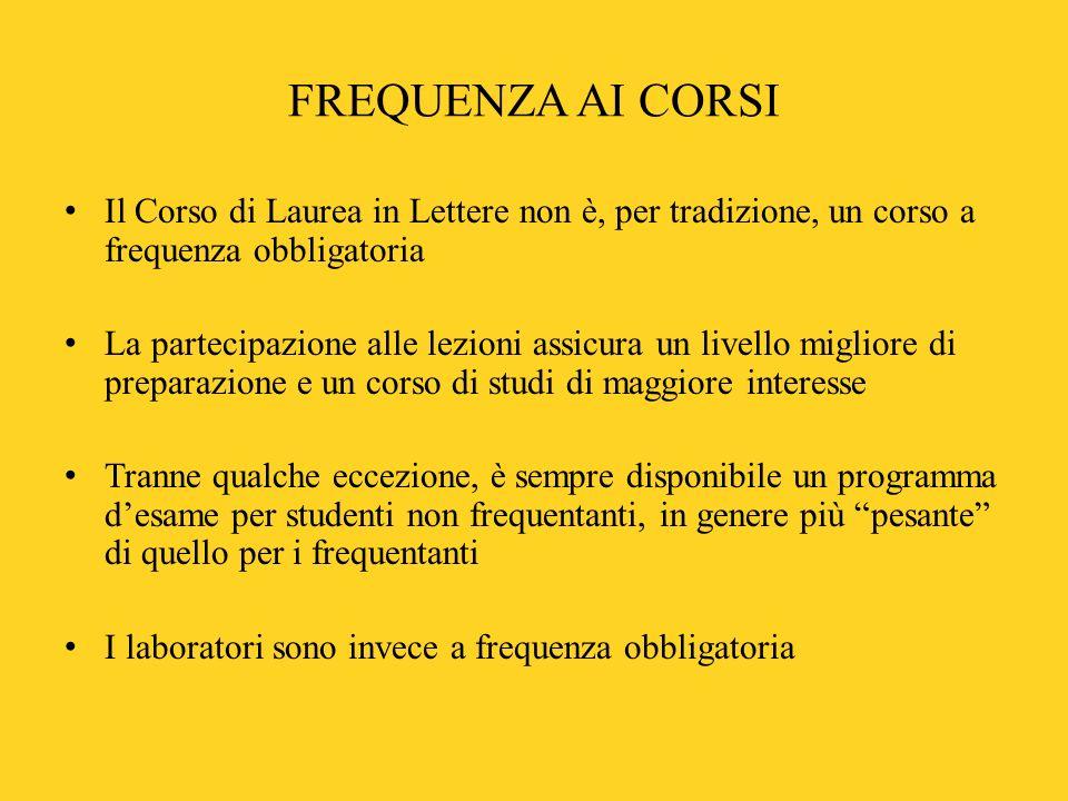 FREQUENZA AI CORSI Il Corso di Laurea in Lettere non è, per tradizione, un corso a frequenza obbligatoria.