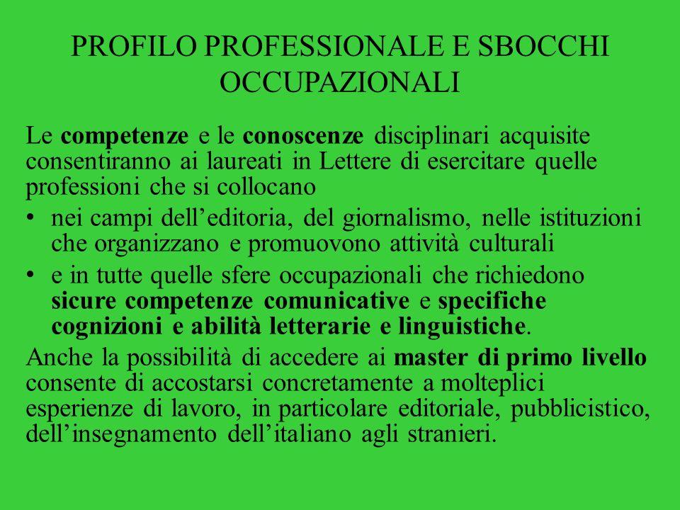 PROFILO PROFESSIONALE E SBOCCHI OCCUPAZIONALI