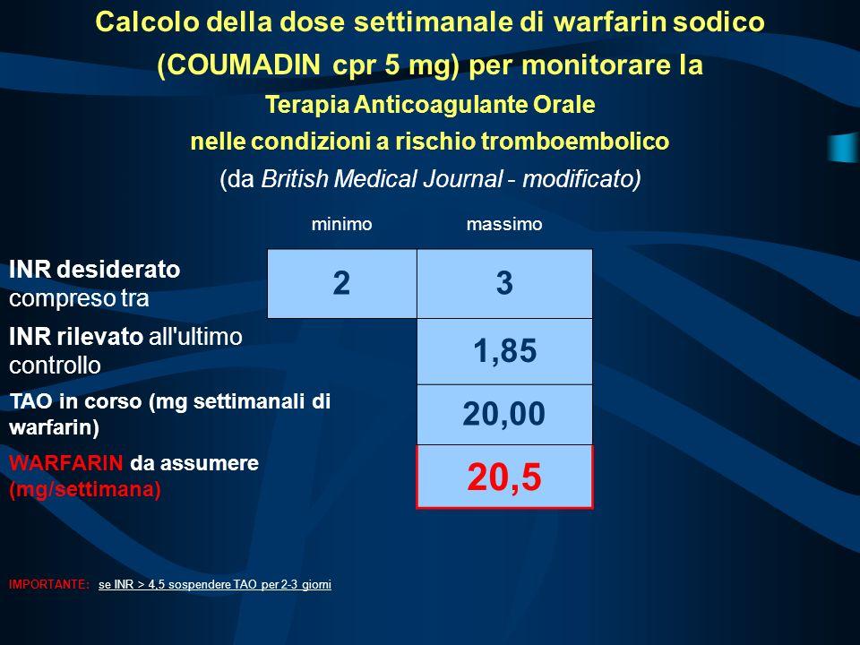20,5 2 3 1,85 20,00 Calcolo della dose settimanale di warfarin sodico