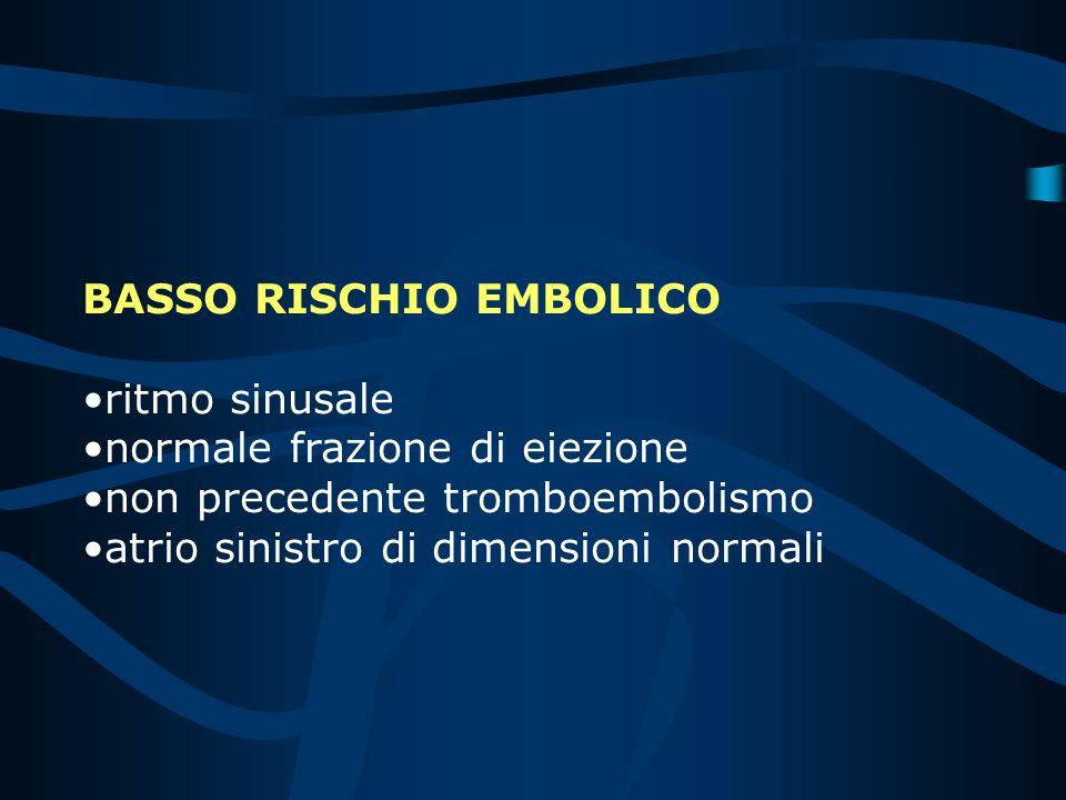 BASSO RISCHIO EMBOLICO ritmo sinusale normale frazione di eiezione