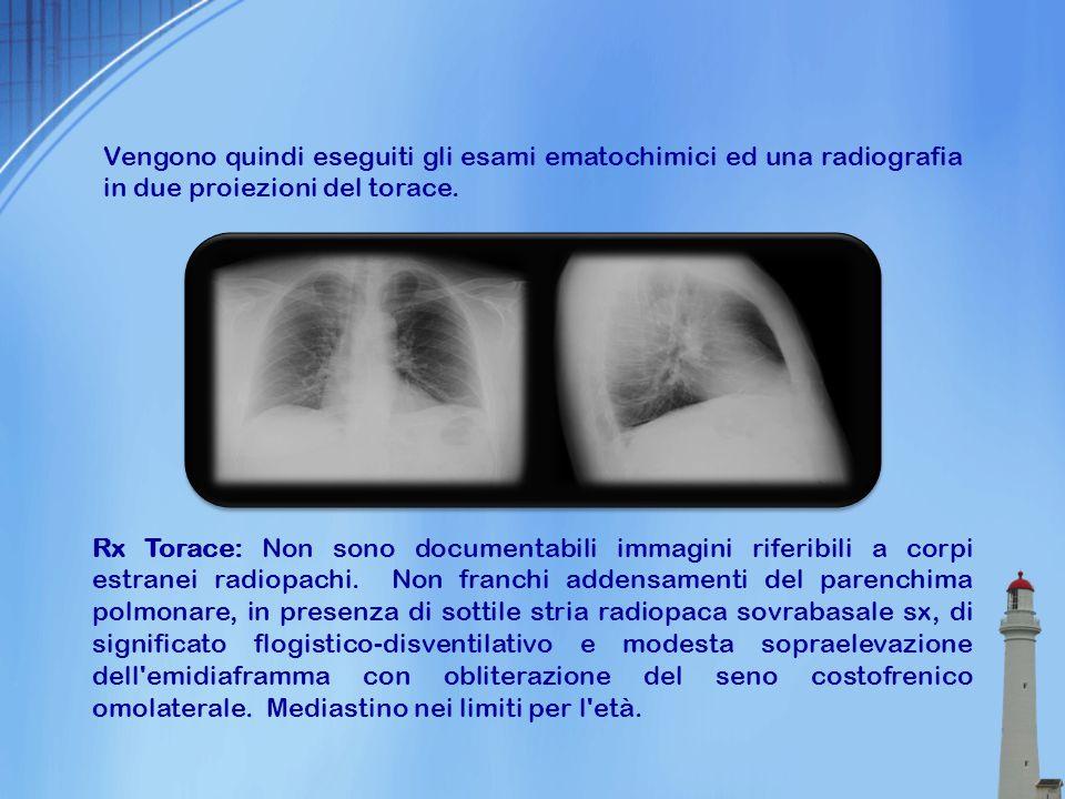 Vengono quindi eseguiti gli esami ematochimici ed una radiografia in due proiezioni del torace.