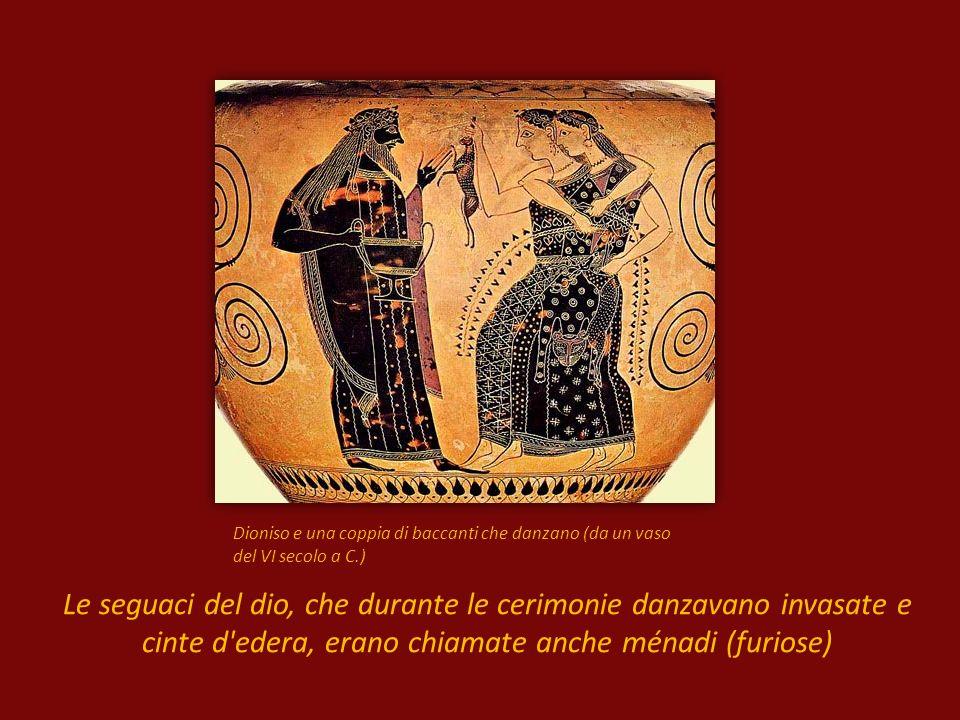 Dioniso e una coppia di baccanti che danzano (da un vaso del VI secolo a C.)