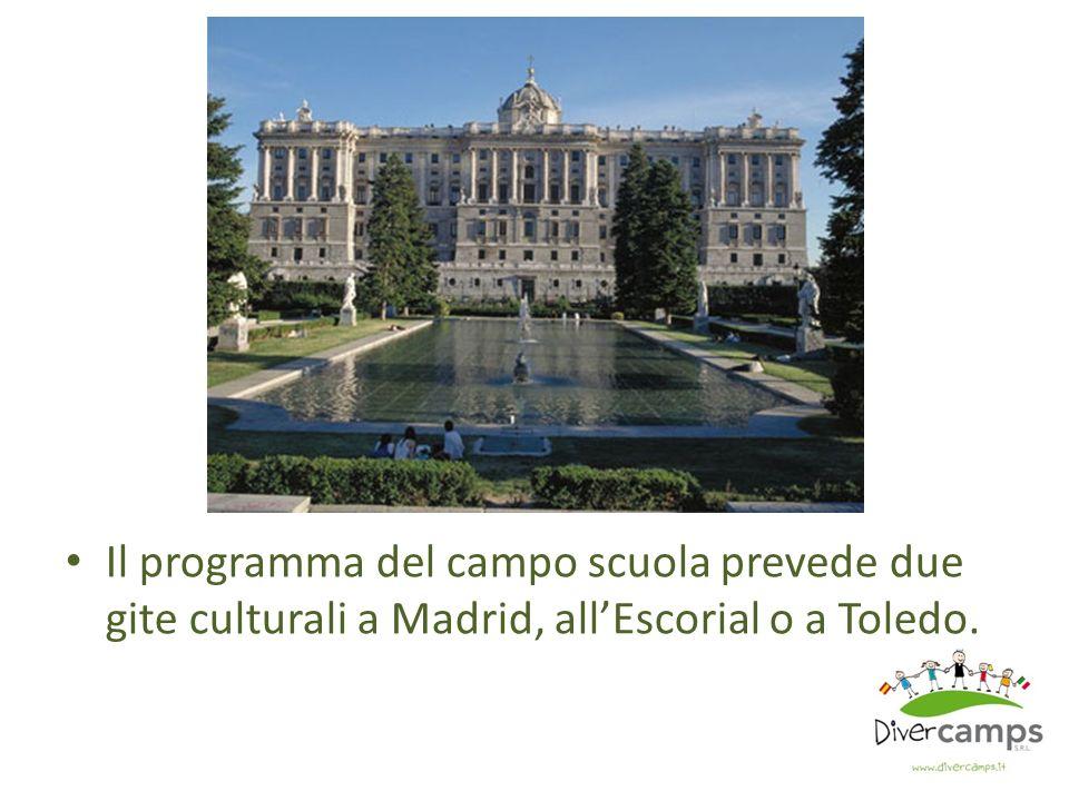 Il programma del campo scuola prevede due gite culturali a Madrid, all'Escorial o a Toledo.