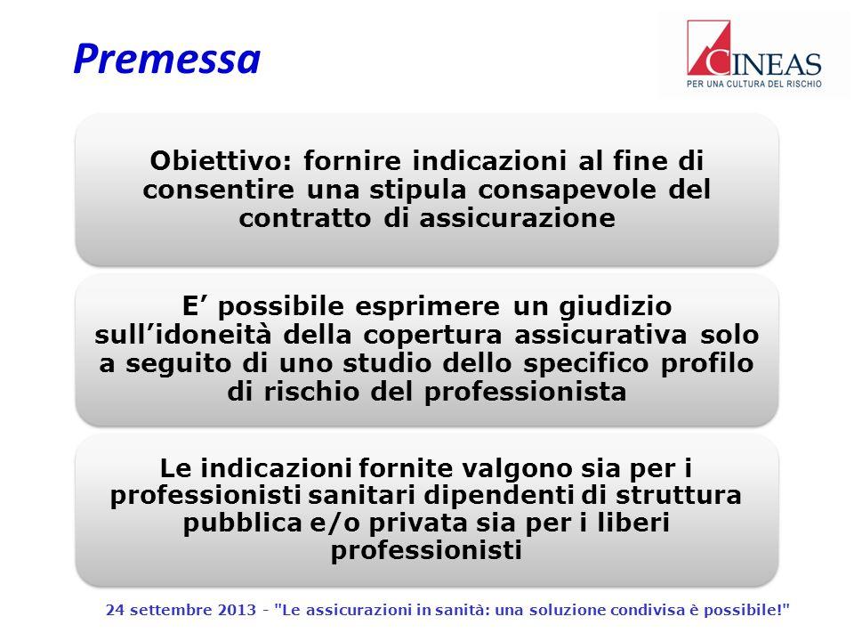 Premessa Obiettivo: fornire indicazioni al fine di consentire una stipula consapevole del contratto di assicurazione.