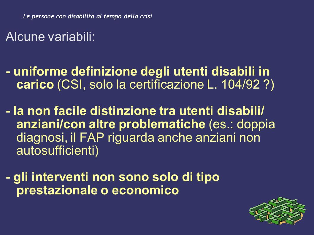 Le persone con disabilità al tempo della crisi