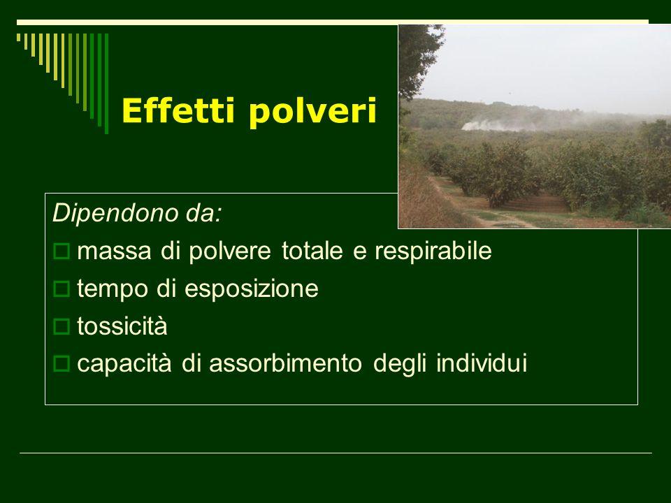Effetti polveri Dipendono da: massa di polvere totale e respirabile