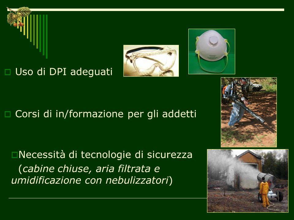 Uso di DPI adeguati Corsi di in/formazione per gli addetti. Necessità di tecnologie di sicurezza.