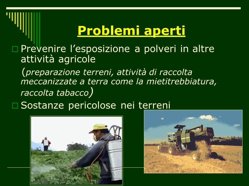 Problemi aperti Prevenire l'esposizione a polveri in altre attività agricole.