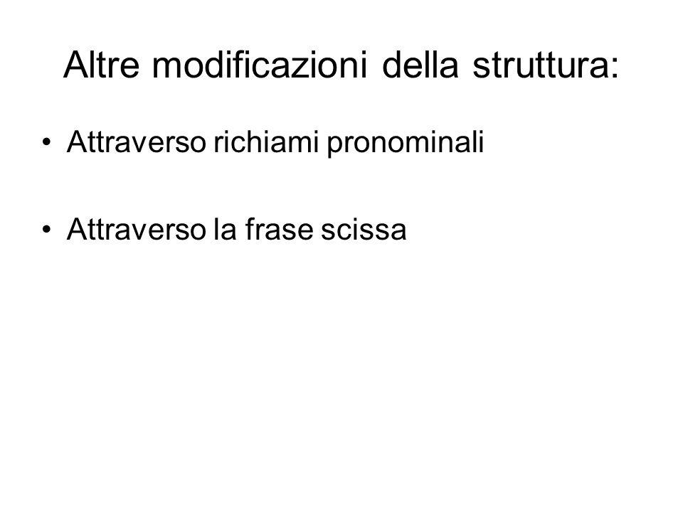 Altre modificazioni della struttura: