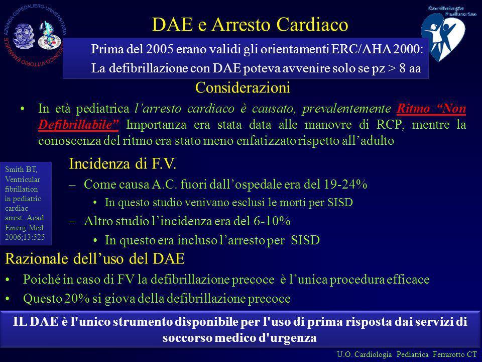 DAE e Arresto Cardiaco Considerazioni Incidenza di F.V.