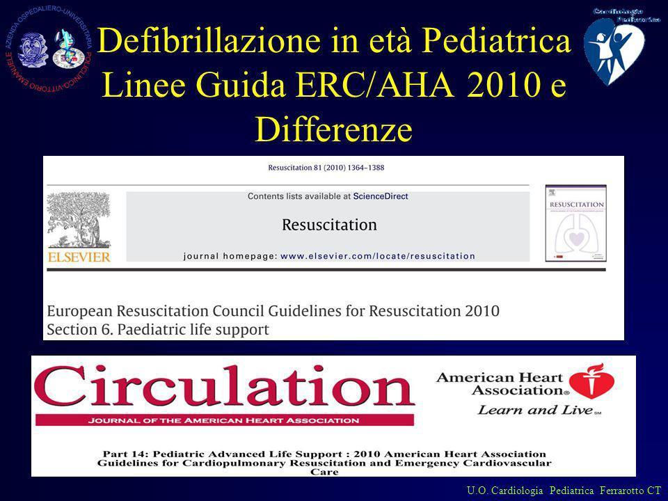 Defibrillazione in età Pediatrica Linee Guida ERC/AHA 2010 e Differenze