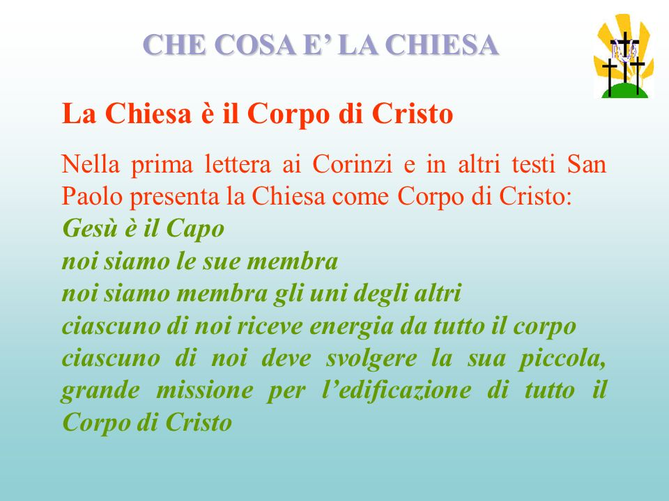 La Chiesa è il Corpo di Cristo
