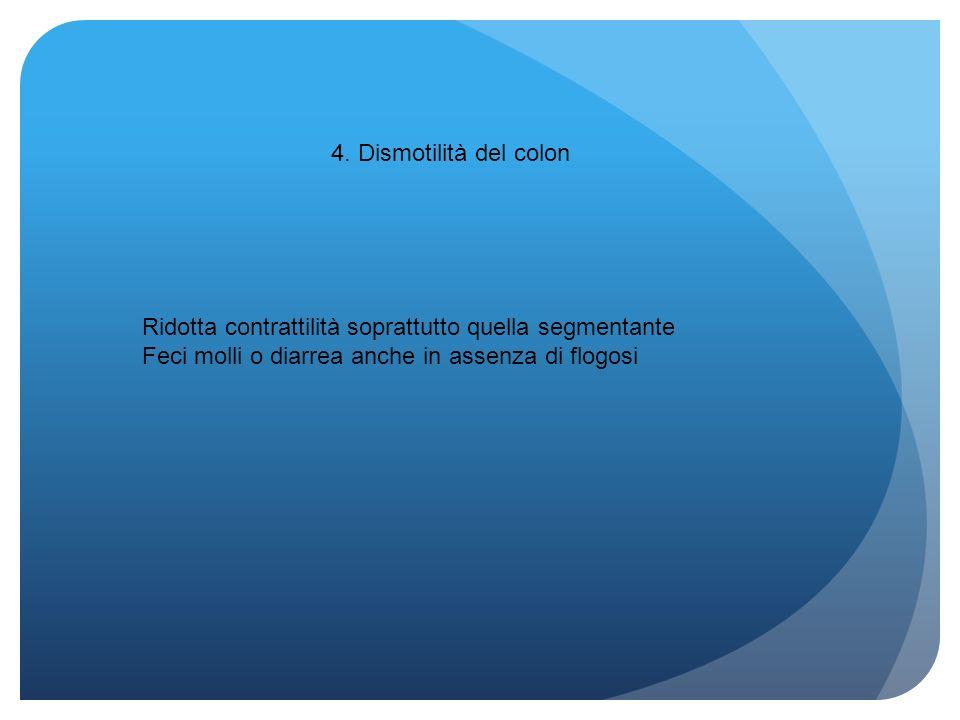 4. Dismotilità del colon Ridotta contrattilità soprattutto quella segmentante.