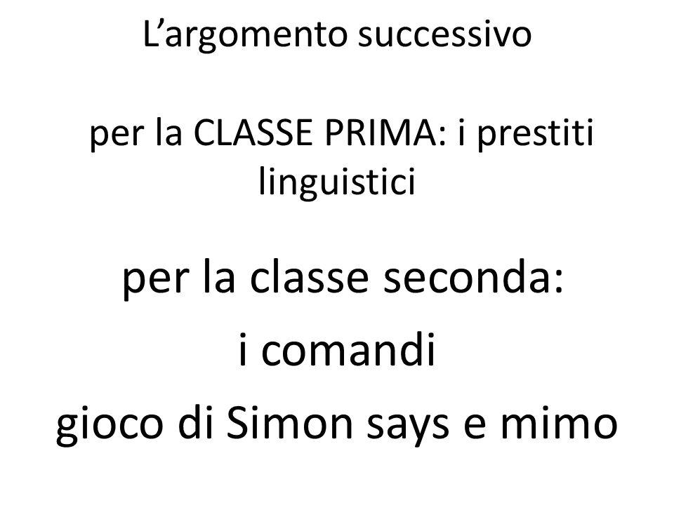 L'argomento successivo per la CLASSE PRIMA: i prestiti linguistici