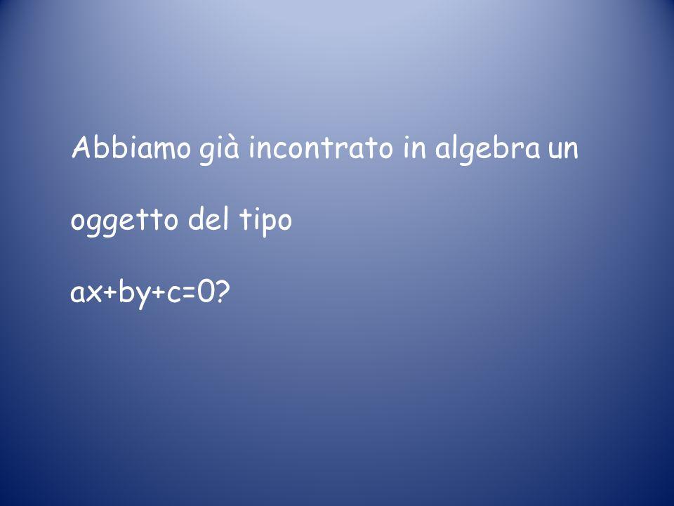 Abbiamo già incontrato in algebra un oggetto del tipo ax+by+c=0