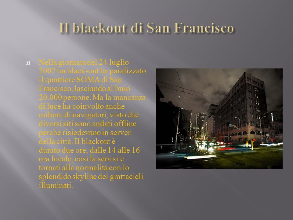 Il blackout di San Francisco